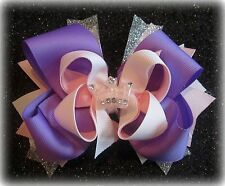 Purple hair bow Tiara Crown Boutique Hairbow Funky Hairbows Toddler Princess