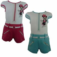 Girls Disney Minnie Mouse Summer Short Sleeve Playsuit Size: 3-8 Years