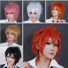 UK SHIP Women Men Anime Short Full Wig Cosplay Party Straight Hair Party Wigs ma