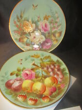 ANTIQUE PLATES ARTIST WARE REMARKABLE DETAILS FRUIT & FLOWERS BUTTERFLY