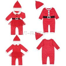 Baby Girl Boy Christmas Santa Claus Rompers Hat Outfits Xmas Party Body Clothes