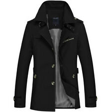 Men Casual Single-breasted Trench Coat Turn-down Collar Slim Fit Cotton Overcoat