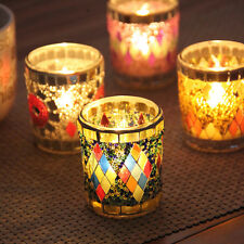 Mosaic Glass Candle Holder Cup Tea Light Party Romantic Dinner Decor Pray Gift