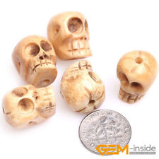 1.2mm Big Hole Carved Bone Skull Skeleton Beads For Halloween Jewelry Making