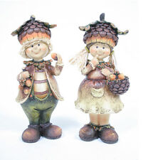 Cute Fall Boy or Girl Harvest Thanksgiving Figurine Autumn/Fall Decor
