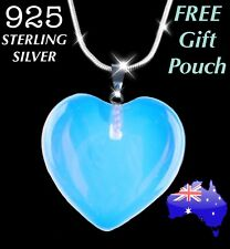 Real Natural Opalite Crystal Quartz Heart Pendant 925 Sterling Silver Necklace