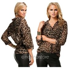 Lady Leopard Animal Print Top Chiffon Shirt Blouse Long Sleeve Causual Blouses