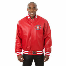 NHL Montreal Canadiens JH Design  Leather Jacket with  Leather logos Red Colour