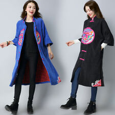 Womens Ethnic Embroidery Stand Collar Cotton Linen Chinese Trench Coat Outwear