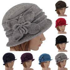 Fashion Women Ladies Wool Felt Cloche Hat Side Butterfly Flanging Church Cap