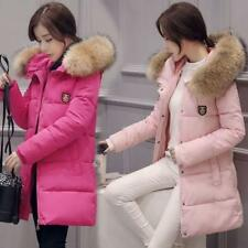Womens Winter Hooded Coat Faux fur collar cotton Down Jacket Outerwear Slim Coat