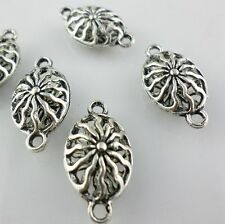 8/70pcs Tibetan silver Filigree Hollow Oval Flower Connectors Charms 8*13*24mm