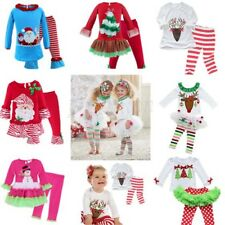 Xmas Reindeer Toddler Kids Girls Baby Top Shirt Dress+Tutu Skirt Leggings Outfit