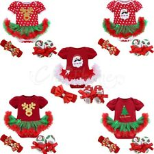 Newborn Baby Xmas Romper Tutu Dress Body Jumpsuit Infant Girl Headband Outfit
