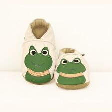 Handmade Genuine Goat Leather Baby Shoes Kids Boy Girl Unisex Newborn Frog