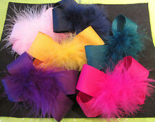 You Pick 11 - Lot Set Boutique Hair Bows Marabou Puff Feather Hairbows U Choose