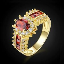 Fashion Halo Red Garnet 18K Gold Filled Womens Rings  Size 7,9,10,11