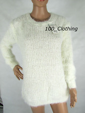 WOMENS NEW FAUX FUR LONG SLEEVED JUMPER LADIES FURRY FLUFFY JUMPER DRESS TOP