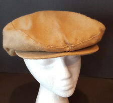 Camel Beige Newsboy Cabbie Hat Lined Snap Front Cap Size Medium New