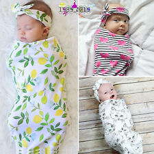 Newborn Infant Baby Swaddle Blanket Sleeping Swaddle Muslin Wrap Headband Set