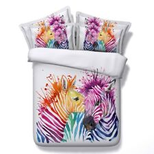 Colorful Zebra Duvet Cover Pillowcases Queen King Size Quilt/Comforter Cover Set
