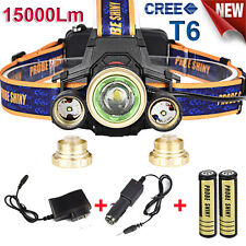 Zoomable 15000Lm Headlamp CREE XM-L 3 x T6 LED Headlight Light Charger Battery
