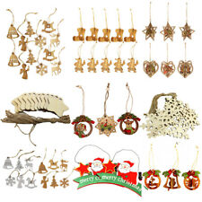 Wooden Christmas Tree Ornament Pendants Hanging Decoration Gift Tags with String