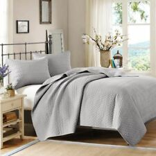 Deluxe 3pc Grey Velvet Touch Quilted Coverlet AND Decorative Shams
