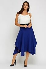BNWT*LADIES*SIZE*18* BLUE* TEXTURED* ASYMMETRICAL* ELASTICATED* WAIST*Midi*SKIRT