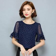 Women's Blouse Short Sleeve Chiffon Shirt Polka Dot  Plus size Ladies Top