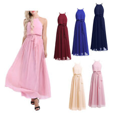 Womens Ladies Wedding Bridesmaid Long Chiffon Cocktail Ball gown Evening Dress