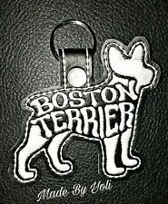 Boston Terrier Text Fill Keychains