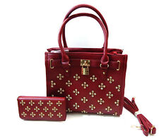 Women Satchel Handbag + Trifold Wallet Checkbook Set Purse In Brown Red Blue