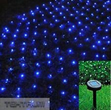 TEKTRUM 82 FT-LONG 150 BLUE LED TWO-IN-ONE SOLAR STRING FAIRY LIGHTS OUTDOOR -