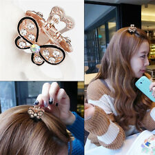 Lovely Mini Crystal Rhinestone Plastic Butterfly Hair Claw Jaw Clip Clamp@@