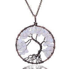 Root Family Healing Tree of Life Opal Crystal Pendant Antique Chain Gemstone Raw