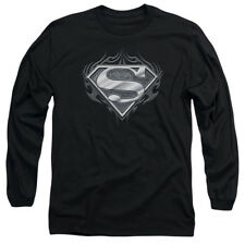 Superman BIKER METAL Licensed Adult Long Sleeve T-Shirt S-3XL