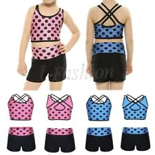 2Pcs Girl Kid Ballet Gymnastics Tankini Polka Dots Tank Top Gym Sports Dancewear