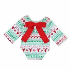 Baby Christmas clothes Newborn Kids Baby Girls Christmas Outfit Clothes Bow Long