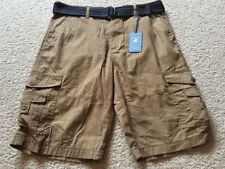 New Beverly Hills Polo Club Belted Cargo Shorts, Sz 34 and 36, Khaki