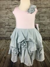NWT Biscotti Girls Short Sleeve Dress Pink Stripe Blue Rosettes Size 5/6 6X/7