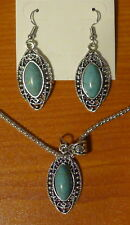 Turquoise 3-piece Pendant Necklace & Earrings Set * Tibetan Silver