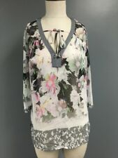 ELLEN TRACY Multi Color Floral 3/4 Sleeve Sheer Rhinestone Blouse Sz S SMA9317