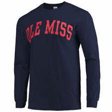 Mississippi Rebels Navy Vertical Arch Long Sleeve T-shirt - College