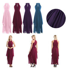 Women Open Back Chiffon Long Formal Prom Dress Cocktail Party Evening Bridesmaid