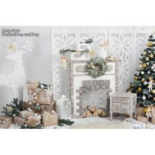 Retro White Deer Xmas Holiday Photography Backdrops Christmas Tree Studio Props