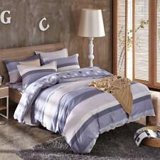 Grey classic stripes 4PC bed set queen size cotton