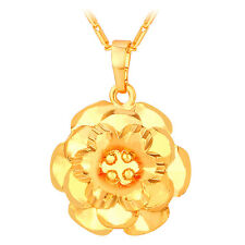 U7 Camellia Flower Charm Pendant 18K Gold Plated Fashion Necklace for Women Girl
