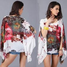 Boho Batwing Sleeve Chiffon Blouse Women Floral shawl Kimono Shirt Tunic Top