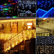 96-960 LED String Hanging Icicle Snowing Curtain Lights Outdoor Home Xmas Party